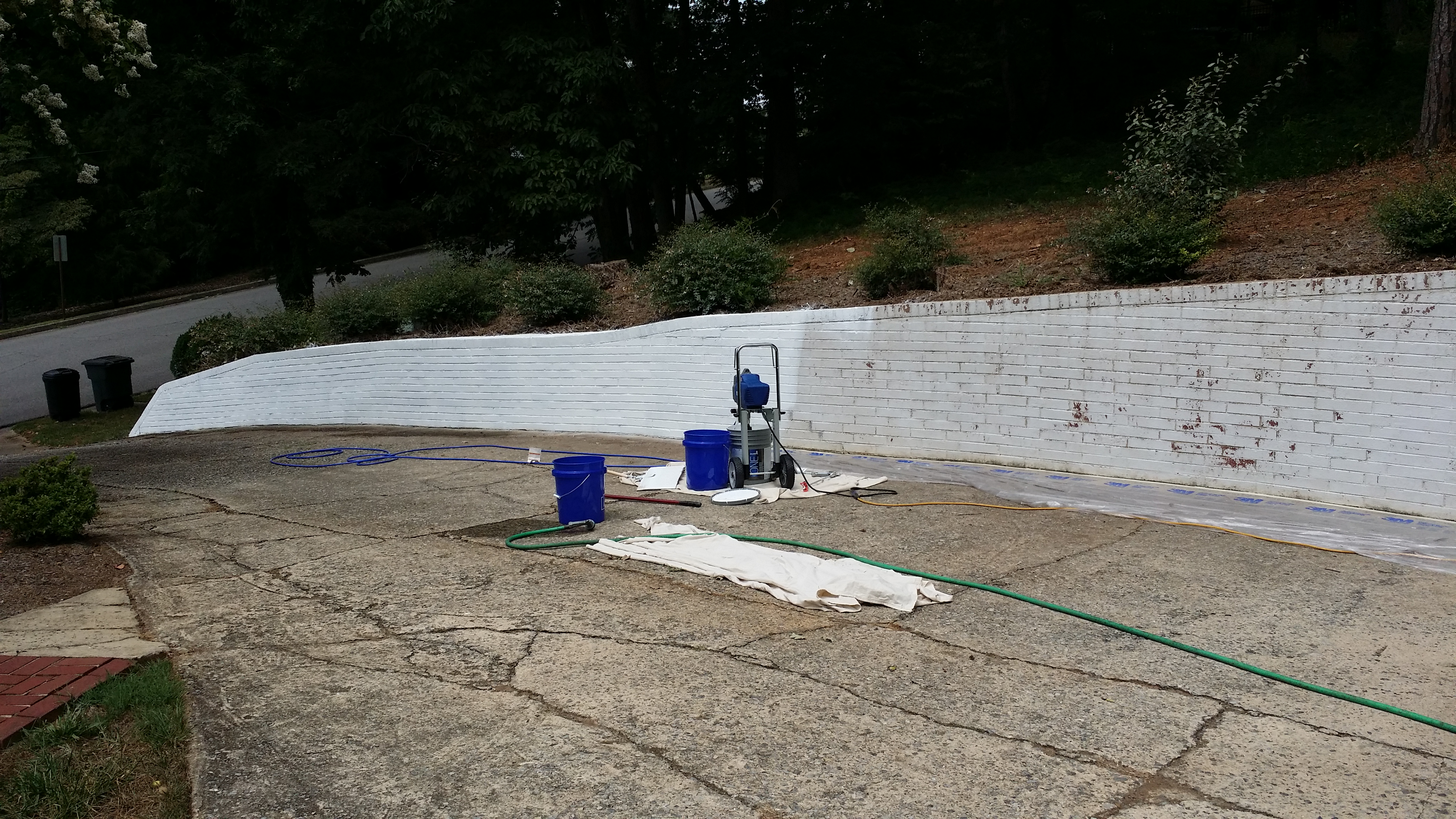 Painting a Retaining Wall